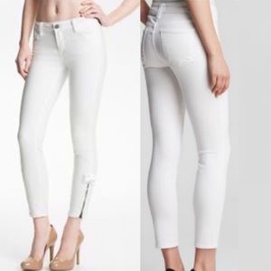 Vince Ankle Zipper Skinny Jeans White Size 27 Zip